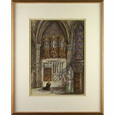 C19th Watercolour Painting Private Chapel Charles of Burgundy Notre Damme Bruges