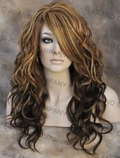 Heat Safe Curly Long Wavy Skin Top Brown Blonde mix Wig wd 8-12DS