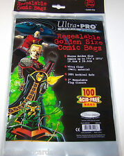 """1 Pack of 100 Ultra Pro 7 3/4"""" Golden Comic Book Storage Bags RESEALABLE"""