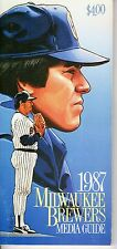 1987 Milwaukee Brewers Baseball Media Guide~Ted Higuera Robin Yount Paul Molitor