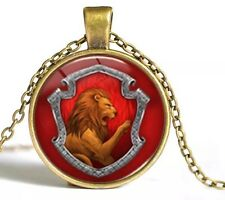Harry Potter Gryffindor Lion Emblem Cabochon Necklace Pendant Gold US Seller