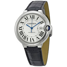 Cartier Ballon Bleu Automatic Silver Dial Stainless Steel Black Leather Mens