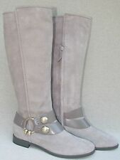 NEW NWB ALEXANDER MCQUEEN  GREY SUEDE & LEATHER TALL BOOT w/ SKULL RING SZ 7 38