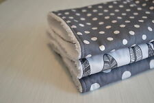 Baby Burp Cloth, Toweling Back-Grey Spots & Feathers, set of 3