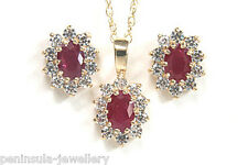 9ct Gold Ruby Cluster Pendant and earring Set Boxed Made in UK