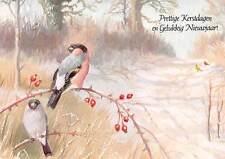 Prettige Kerstdagen en Gelukkig Nieuwjaar, Birds on a Branch Trees Postcard