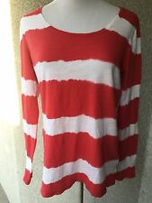 LUCKY BRAND Blouse Top XL Striped Red White Long Sleeve
