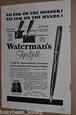 1933 Waterman's Fountain Pen advertisement, WATERMAN Tip-Fill pen