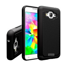 Black Dual Layer Hybrid Hard Case For Samsung Galaxy Grand Prime SM-G530W G530H