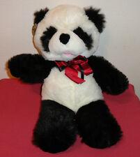 NWT Cuddle Wit Panda Plush Stuffed Toy Animal Black White Red Ribbon Furry Soft