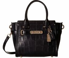 NWT  37997 Coach Swagger 21 Carryall Croc Embossed Leather Navy Blue