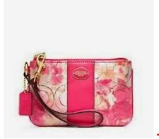 NWT NIB Coach Floral Canvas Op Art Signature Wristlet 49216B Coral Multicolor