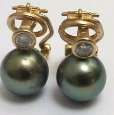 18 Carat Yellow Gold Earrings Black Pearl and Diamond Vintage Ear Pendants
