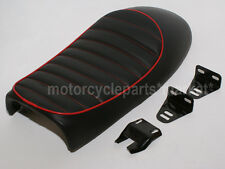 Red EDGE Vintage Retro Motorcycle Black Styling Tracker Cafe Racer Seat Custom