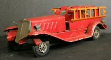 1930's Girard Fire truck w ladders wind up with electric lights Vintage tin toy