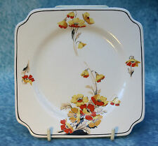 Art Deco Antique Vintage Myott Square Tea Side Plate with Poppy Flower Design