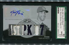 2011 TOPPS TRIBLE THREADS DAVID PRICE AUTO RELICS BLACK PLATE 1/1  SGC 8.5