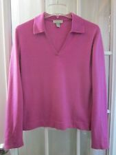 """Geneva 100% Cashmere Cherry Pink Long Sleeve Seweater Women L """"Excellent"""""""