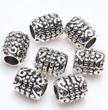 50pcs 6x5mm Argent tibétain Tube Perles Intercalaire en vrac pour Bijoux, #29