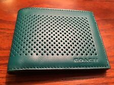 New Coach Men's Slim Billfold ID Wallet In Perforated Seagreen/Black Leather.