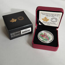 1oz. Fine Silver Coin Red Trillium with Swarovski Crystal Dew Drop Elements 2014