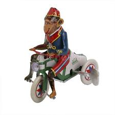 Vintage Wind Up Circus Monkey Riding a Car Clockwork Tin Toy Fun Collectible