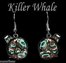 NEW Cowichan Salish KILLER WHALE ORCA EARRINGS totem designed by JOE WILSON