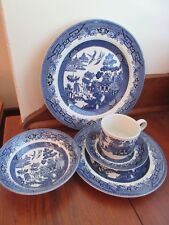 Vintage Churchill Staffordshire England Blue Willow 5 pc. place setting