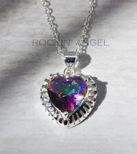 925 Silver & Mystic Rainbow Topaz Heart Pendant Necklace, ladies gift, Crystal
