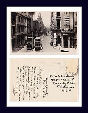 CHINA HONG KONG DES VOEUX ROAD REAL PHOTO 1936 TO W.S. EASTMAN, BEVERLY HILLS
