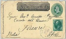 United States USA - POSTAL HISTORY: WELLS FARGO Stationery COVER to ITALY 1878