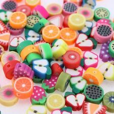 NEW MIXED FIMO POLYMER CLAY FRUIT BEADS CHARMS FIT NECKLACE BRACELET 100PCS