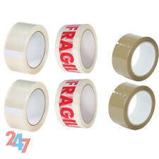 STRONG ADHESIVE 6X ROLLS PACK TAPE 2X FRAGILE 2X CLEAR 2X BROWN PACKAGING C035