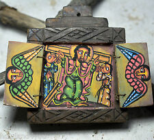 Hand Crafted Ethiopian painted Christian icon Coptic wood Processional G004