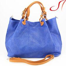 Ital. echt Leder Beuteltasche Lederbeutel Shopper Damen Handtasche Cognac Blau