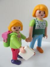 Playmobil Dollshouse/school figures: Mum with little girl, book & backpack NEW