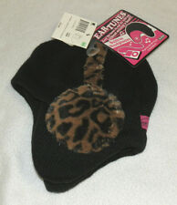 New Womens Ear Tunes Black Knit Hat BUILT IN HEADPHONES Leopard Joe Boxer Beanie