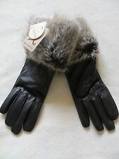 BNWT Ladies Monsoon Black leather Fur Trimmed Gloves - One Size