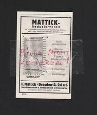 Dresda, Pubblicità 1929, F. Mattick Maschinenfabrik Eisengiesserei