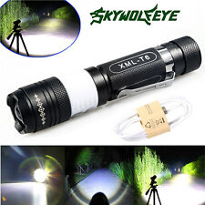Tactical 3-Mode 6000lm Cree XML T6 LED 18650 Flashlight Torch Zoomable USB Light