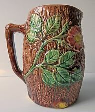 """Antique Dogwood Style Majolica Pitcher """"Early Wild Rose On Tree Bark""""  1880"""