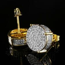 18K Gold ICED OUT Simulate Diamond Micropave AAA Earring Stud Round Hip Hop 12G