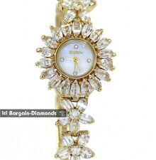 ladies Elgin gold tone watch flower crystals bracelet Elgin gift box