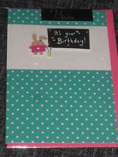 It's your birthday have a great day, cute greeting card, bunny rabbit artist