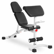 XMark Fitness Flat Incline Decline (FID) Bench with Preacher Curl XM-4417-WHITE