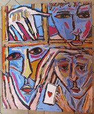 Visson portrait acrylique sur panneau acrylic painting La Bonne Carte 1991