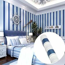 Mediterranean Sea Stripe Blue Wallpaper Roll Home Bedroom TV Decor NEW