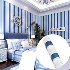 Mediterranean Sea Stripe Blue Wallpaper Roll Home Bedroom TV Decor NEW