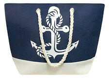 Nautical Color Block Anchor Canvas Tote Beach Shoulder Bag Grocery Pool Blue