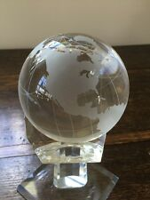 CUT-CRYSTAL GLOBE SHOWING ETCHED CONTINENTS AND COUNTRIES OF THE WORLD.